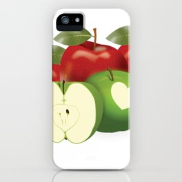 Apple with heart and a leaf in style iPhone Case