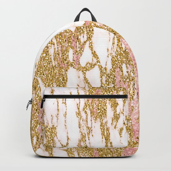 Gold Marble - Intense Glittery Yellow and Rose Gold Marble Backpack