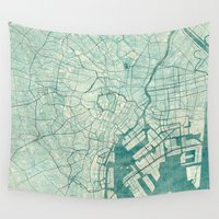 vintage map Wall Tapestries featuring Tokyo Map Blue Vintage by City Art Posters
