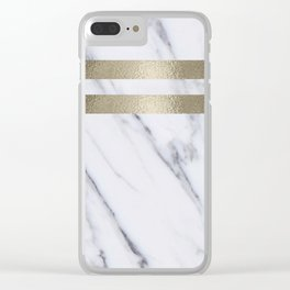 Smokey marble and gilded striped accents Clear iPhone Case
