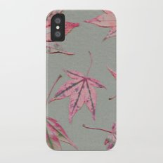 Japanese maple leaves - apricot on light khaki green Slim Case iPhone X