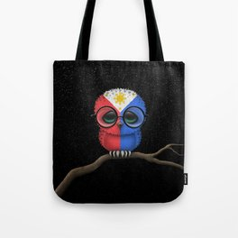 Baby Owl with Glasses and Filipino Flag Tote Bag