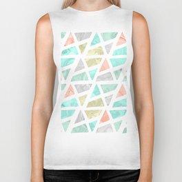 Modern geometrical abstract marble triangles pattern Biker Tank