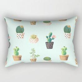 Cactus Pots With Turquoise Rectangular Pillow