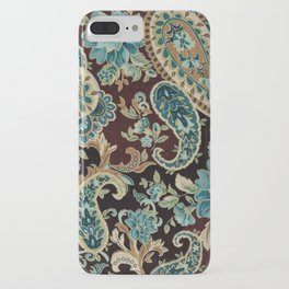 Brown Turquoise Paisley iPhone Case