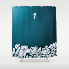 Minimalist Ice Bergs in the blue Ocean - Aerial Photography Shower Curtain