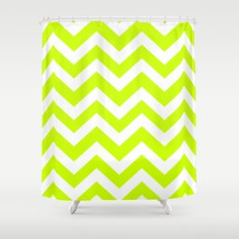 Electric lime - green color - Zigzag Chevron Pattern Shower Curtain