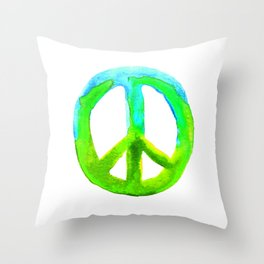 Watercolor Tie Dye Peace Sign Turquoise Lime on White Throw Pillow