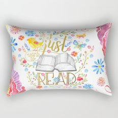 I Just Want To Read - White Floral Rectangular Pillow