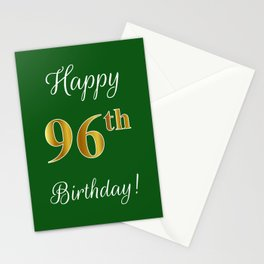 """Elegant """"Happy 96th Birthday!"""" With Faux/Imitation Gold-Inspired Color Pattern Number (on Green) Stationery Cards"""