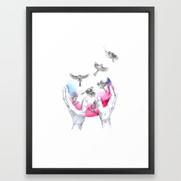 wild and free - pink Framed Art Print