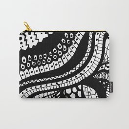 Free Hand Wavy Pattern Black and White Drawing Carry-All Pouch