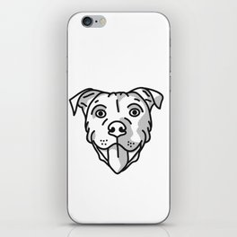 Pitbull Dog Print - black and white halftone iPhone Skin