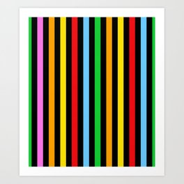 Stripes (Parallel Lines) - Red Blue Green Pink Art Print