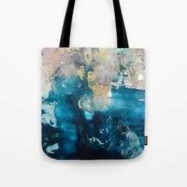 Timeless: A gorgeous, abstract mixed media piece in blue, pink, and gold by Alyssa Hamilton Art Tote Bag