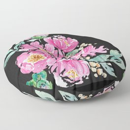 Pink and Black Peony Floor Pillow