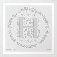 Joshua 24:15 - (Letterpress) Monogram H Art Print