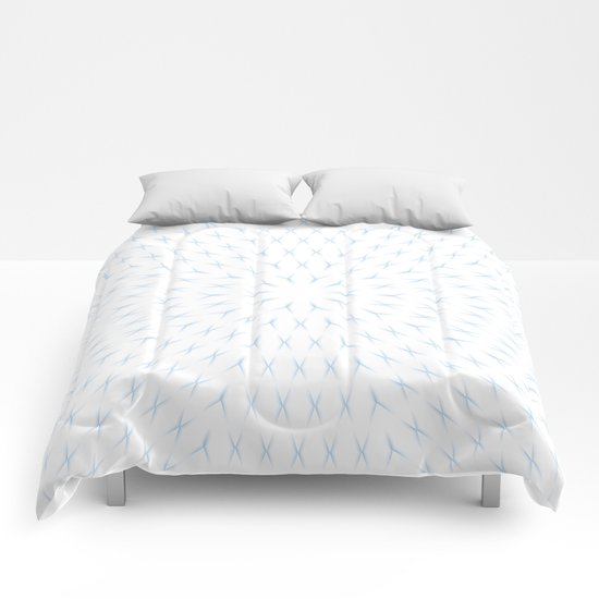 PCT2 Fractal in Ice Blue on White Comforters
