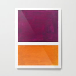 Purple Wine Yellow OchreMid Century Modern Abstract Minimalist Rothko Color Field Squares Metal Print