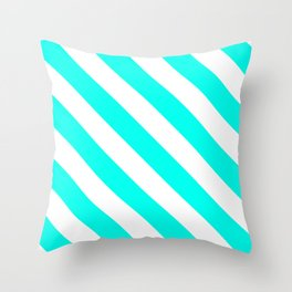 Diagonal Stripes Pattern: Turquoise Throw Pillow