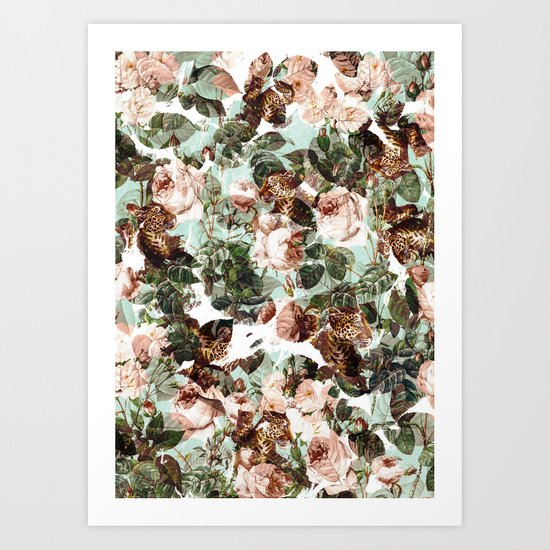 Floral and Leopard Pattern Art Print