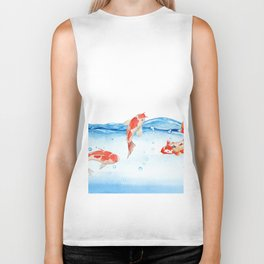 Happy koi fish- fishes sea water lake Biker Tank