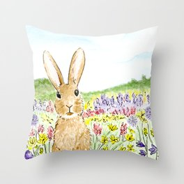 Bunny in the Meadow Throw Pillow