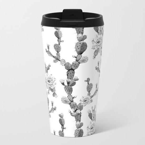 Cactus Rose Garden Stripe Black and White Metal Travel Mug