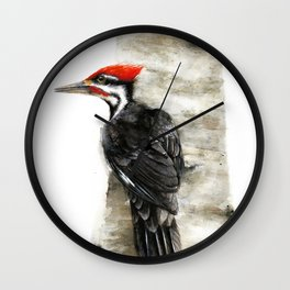 Pileated Woodpecker Watercolor Wall Clock