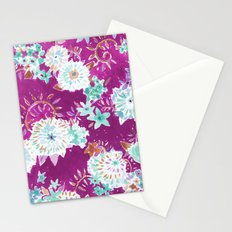 Plum Flourish Floral Stationery Cards