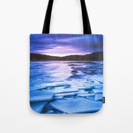 Lake Effect // Frozen Ice Water Sunset Mountain Landscape Photography Pink Purple Blue Clouds Tote Bag