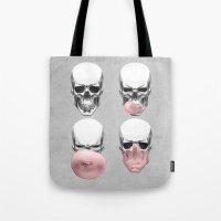 bubblegum Tote Bags featuring Skulls chewing bubblegum by Piotr Burdan