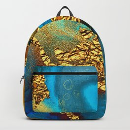 Glitter Gold Fairy Dust On Turquoise Blue Abstract Backpack