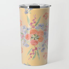Marigolds and Asters Mandala Travel Mug