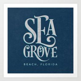 Seagrove Beach Typography (blue) Art Print