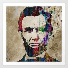 Abraham Lincoln Watercolor Modern Abstract GIANT PRINT ART Art Print