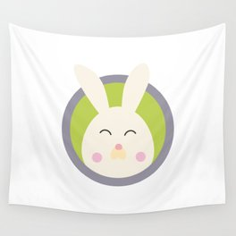 Cute rabbit head with blue circle Wall Tapestry