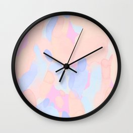 Pink & Blue Abstract Colors Collage Wall Clock