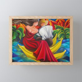 Sailing with bananas. Cuban art by Miguez Framed Mini Art Print
