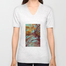 Old big tree in copper and turquoise Unisex V-Neck