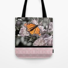 Monarch Butterfly on Pink Flowers and Gothic Tile Tote Bag
