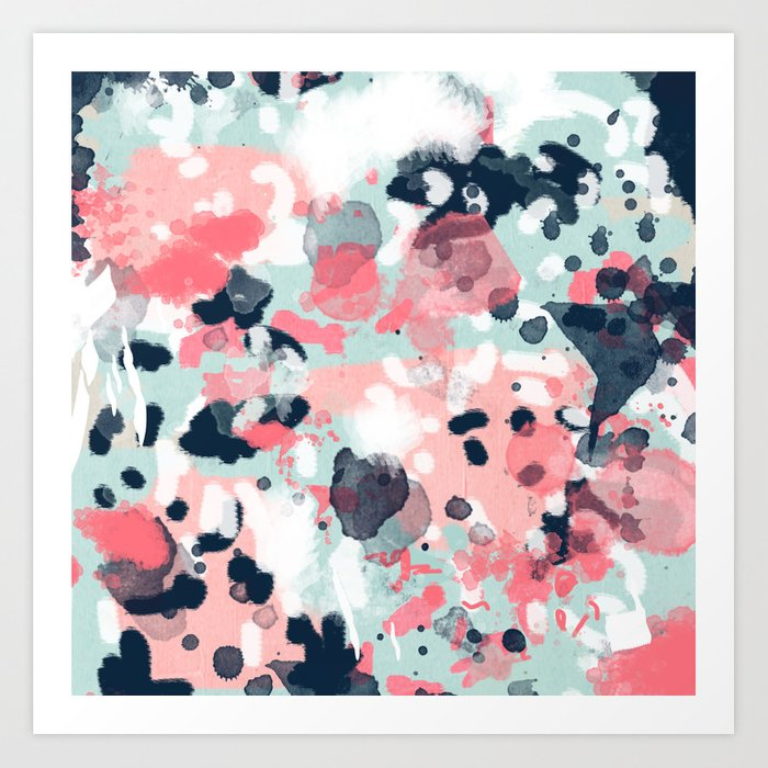 Isla Abstract Painting Navy Mint Coral Trendy Color Palette Summer Bright Decor Art Print