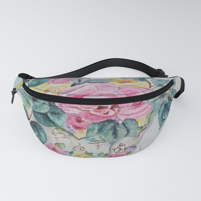 Tranquil Rose Watercolor Fanny Pack