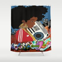 hiphop Shower Curtains featuring Old school Afro by TheDCArtiste (MAGarts)