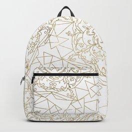 White gold foil hand drawn elegant geometric floral mandala Backpack