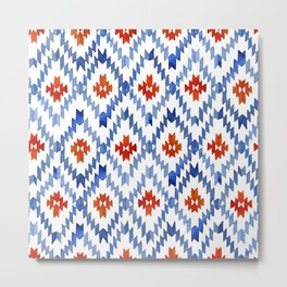 blue rhombus balinese ikat Metal Print