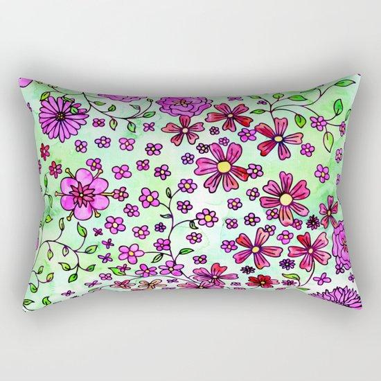 Pink Small Flowers Rectangular Pillow