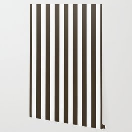 Jacko bean brown - solid color - white vertical lines pattern Wallpaper