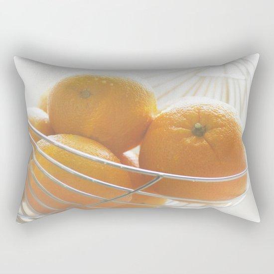 Fresh oranges in basket Rectangular Pillow