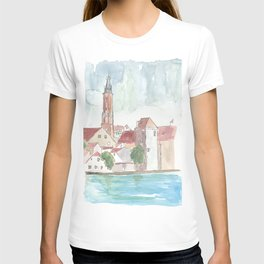 Landshut Bavaria Riverside With Isar City Wall And St-Martin T-shirt